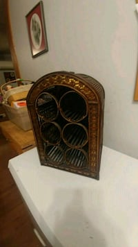 Vintage Wicker Wine Rack