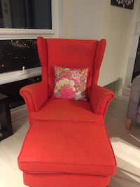 IKEA wing chair/ sofa available immediately with footstool, in good condition.  Toronto, M8Y 1A4