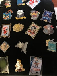 Disney Pin Collection In Display 90 Pins