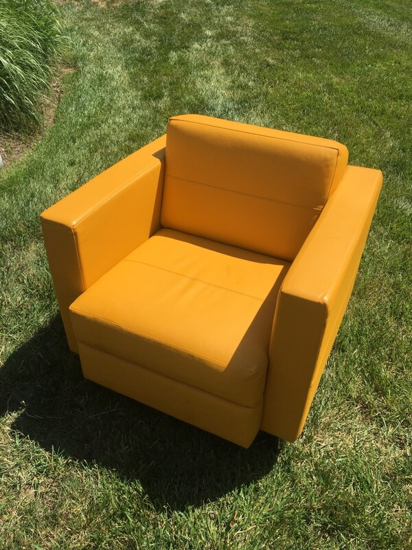 Yellow leather chairs (4 available, buy as many as you want)