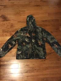 Men's camouflage zip-up hoodie size L