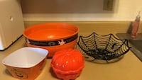 orange, black,  and white Halloween themed plastic containers