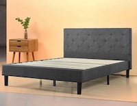 New king platform bed frame grey 304 mi