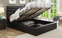 NEW Black leather bed with hydraulic storage ( queen or king )  Miami