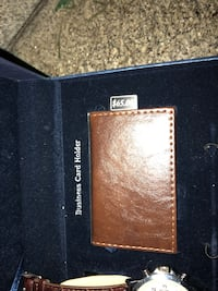 Brown leather business card holder with watch Washington, 20019