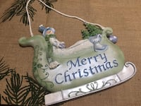 "Merry Christmas Snowman in Sleigh with Rope for Hanging 8"" x 9"" Barrie"