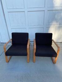 Modern Leather Wrapped Chairs (a pair)