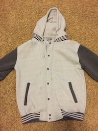 grey and white button-up letterman jacket