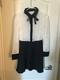 White and black floral long-sleeved mini dress Sainte-Thérèse, J7E