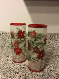 Holiday, red floral vases or candle holders - $5