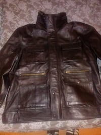 Men's black leather winter hi neck jacket size XL East Orange, 07018