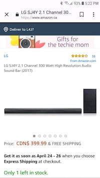 Lg sound bar and speaker