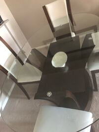 white and black wooden dining set Calgary, T3K 0M2