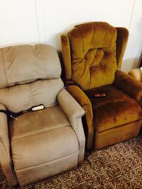2 brown fabric recliner chairs North Vancouver, V7N 2M8