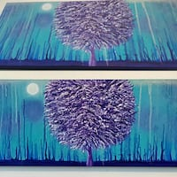 40x16 inches solitude Tree acrylic painting