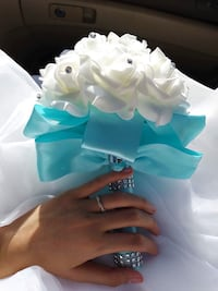 White and teal flower bouquet Millbrae, 94030