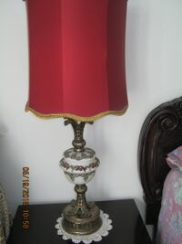 Antique lamps with red lampshade table lamp MONTREAL