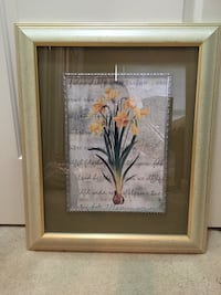 Rectangular brown wooden framed painting of yellow daffodils Surrey, V3S 4P2