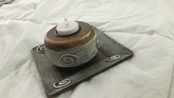 Gray wooden tea light candle holder