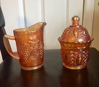 Imperial Carnival Glass Pitcher & Candy Dish 182 mi