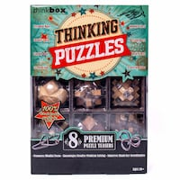 New in Box Think Box 3D Wooden Thinking Puzzles Great Brain Challenge 8 Premium Puzzle Teasers Vancouver