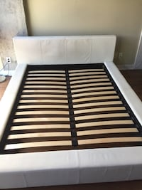 Queen Bed Frame - Cream Leather Toronto, M5V