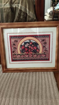 red strawberries painting with brown wooden frame Hamlet, 28345