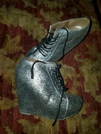 Glitter Wedge Booties size 8.5