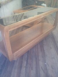 Oak Sofa Table Beveled Glass, Entry Piece LITTLETON