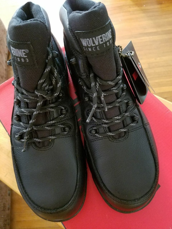 bd602e357ee Men's new black leather Wolverine work boots