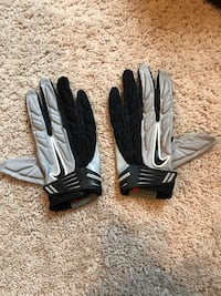 Pair of black-and-gray football gloves