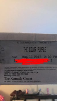 2 Color purple tickets for August 11th Germantown, 20874
