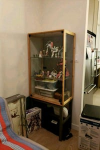brown wooden framed glass display cabinet Coquitlam, V3B 4S4
