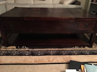 Brown Wooden Coffee Table (Lifts and has Drawers) Minor Defects 22 mi