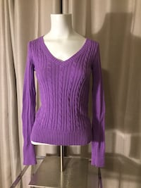 purple v-neck embroidered sweater Mauldin, 29607