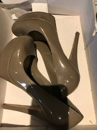 Pair of brown leather platform stilettos