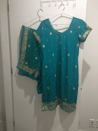 Teal and beige floral studded traditional dress Vancouver, V5X 1C3