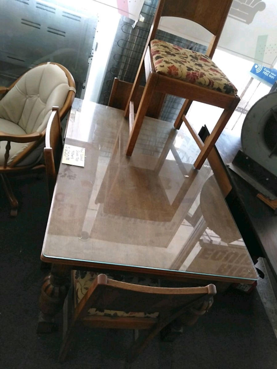 All Wood Table With Glass Top