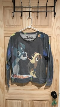 grey, black, and brown Disney character printed sweater