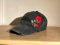 black and red rose patch baseball cap