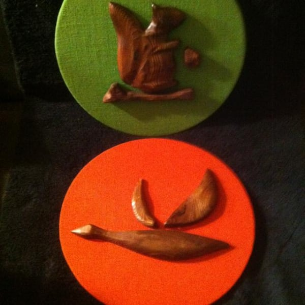 Two Wood Wall Hanging Decor.