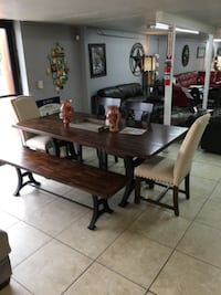 brown wooden dining table set HOUSTON