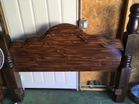brown wooden bed headboard