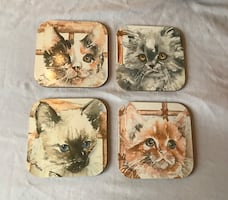 4 cat wooden coasters