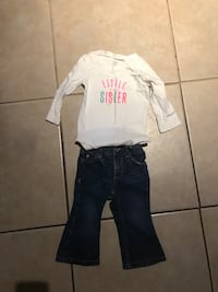 Little girls size 18 month jeans & shirt outfit