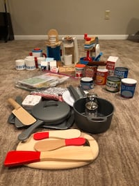 Lot of Melissa and Doug utensils.coffee, tea and mixer ect