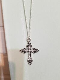 silver-colored link cross pendant necklace