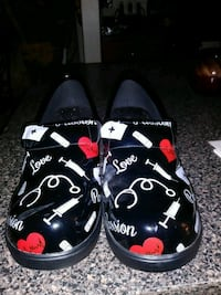black-and-white floral slip-on shoes Germantown, 20876
