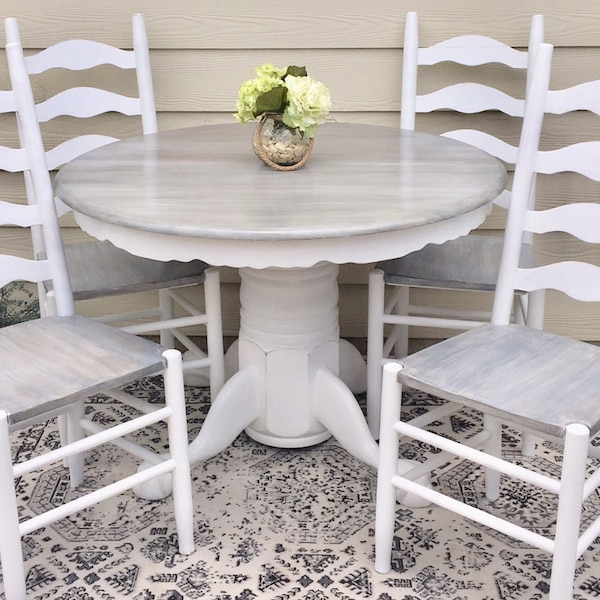 Farmhouse Round Dining Table Kitchen *Table Only* White and Weathered Grey  Dining Table All Solid Oak Wood with Pedestal Base Rustic Refinished like  ...