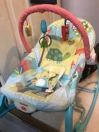 baby's blue and white bouncer 3748 km